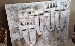 balinese canvas mask art