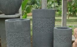 carved concrete pots