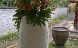 large white concrete pot