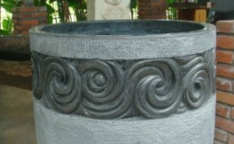 pot with carved detailing