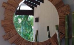 round mirror timber frame