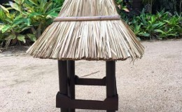 tall thatched lamp