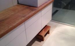 timber slab bathroom bench top